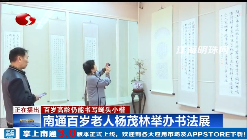 南通百岁老人杨茂林书法展在个簃艺术馆展出  百岁高龄仍能书写蝇头小楷