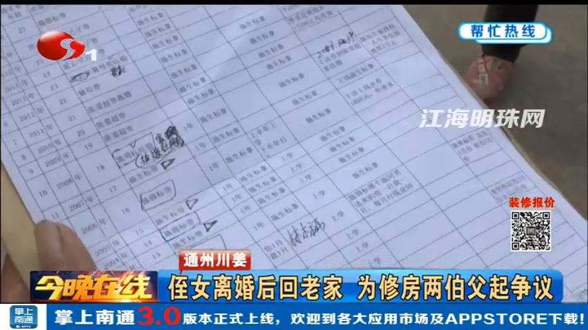通州川姜:侄女离婚后回老家 为修房两伯父起争议
